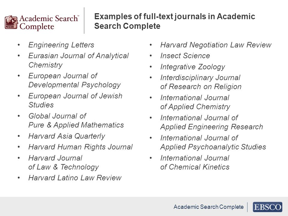 Examples of full-text journals in Academic Search Complete