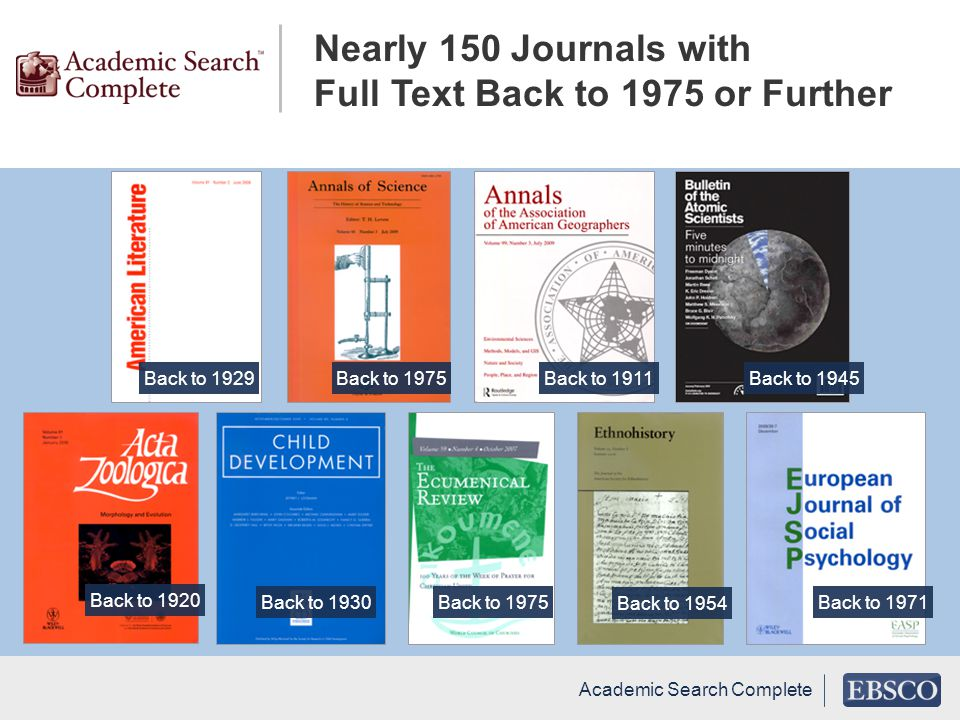 Nearly 150 Journals with Full Text Back to 1975 or Further