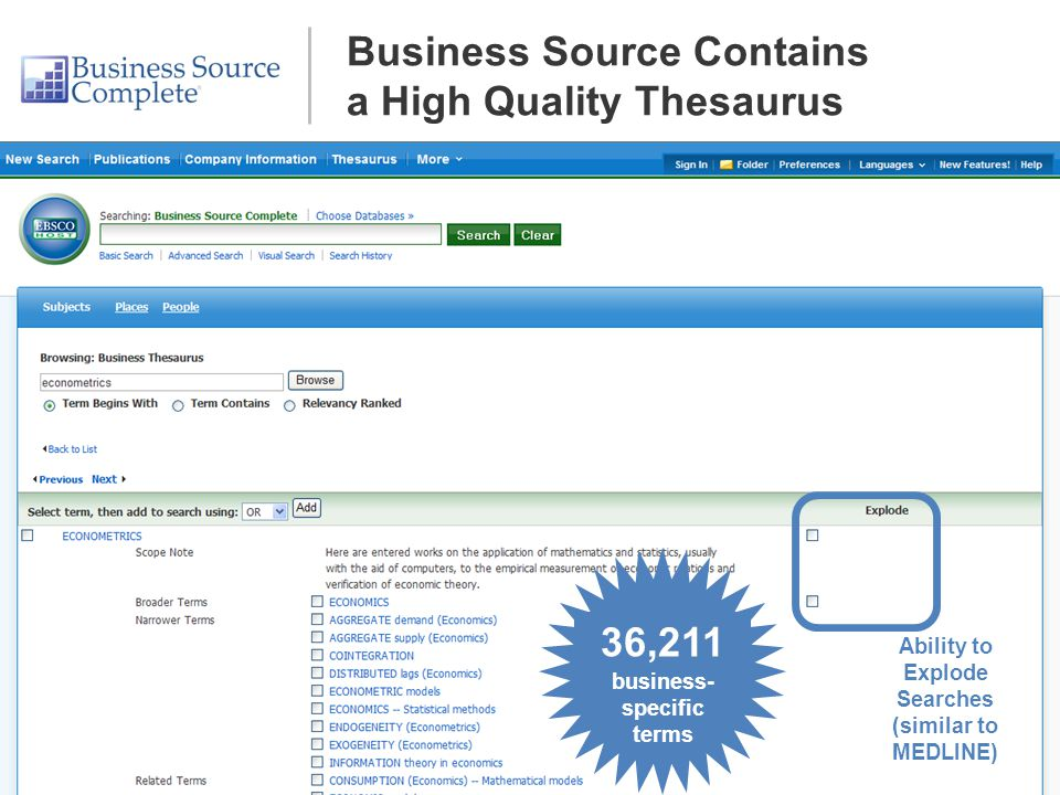 Business Source Contains a High Quality Thesaurus