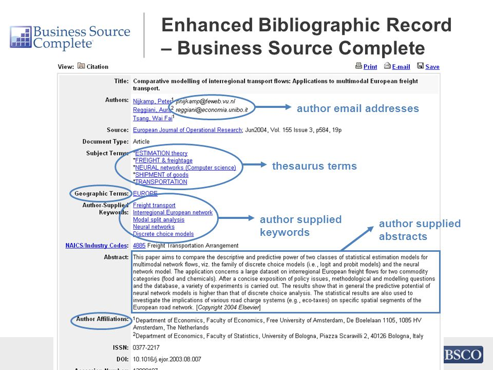 Enhanced Bibliographic Record – Business Source Complete