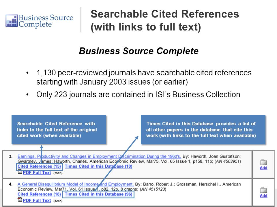 Searchable Cited References (with links to full text)