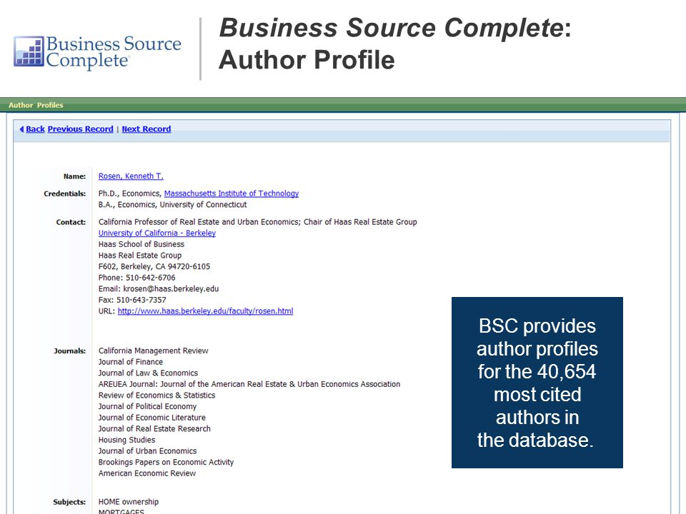 Business Source Complete: Author Profile