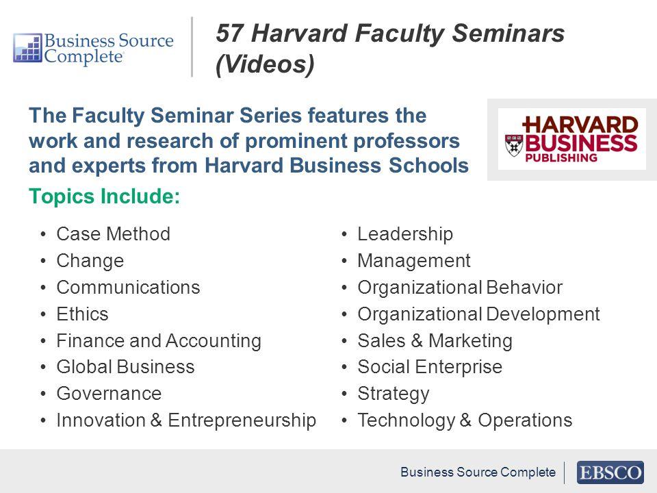 57 Harvard Faculty Seminars (Videos)