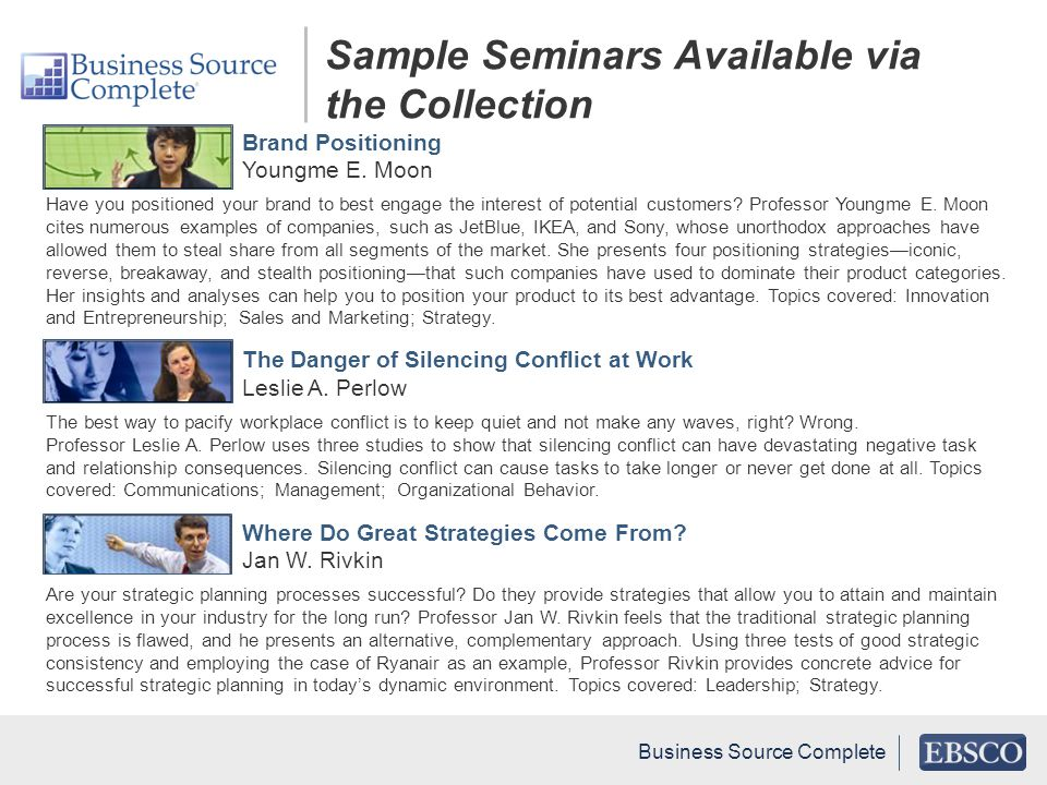 Sample Seminars Available via the Collection