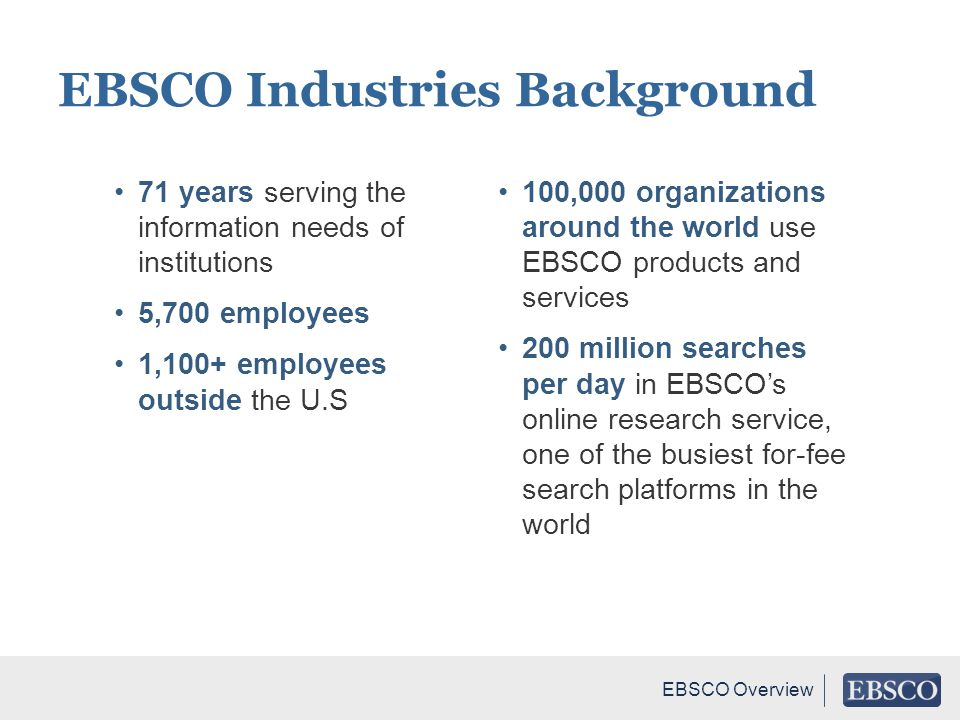 EBSCO Industries Background
