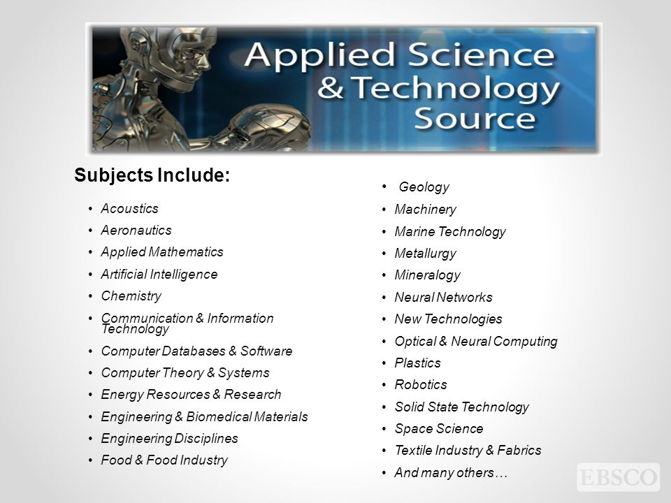 Subjects Include: Geology Machinery Marine Technology Acoustics