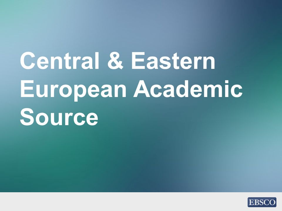 Central & Eastern European Academic Source