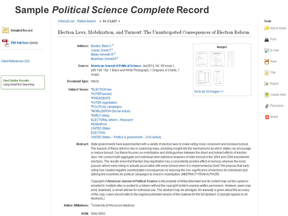 Sample Political Science Complete Record