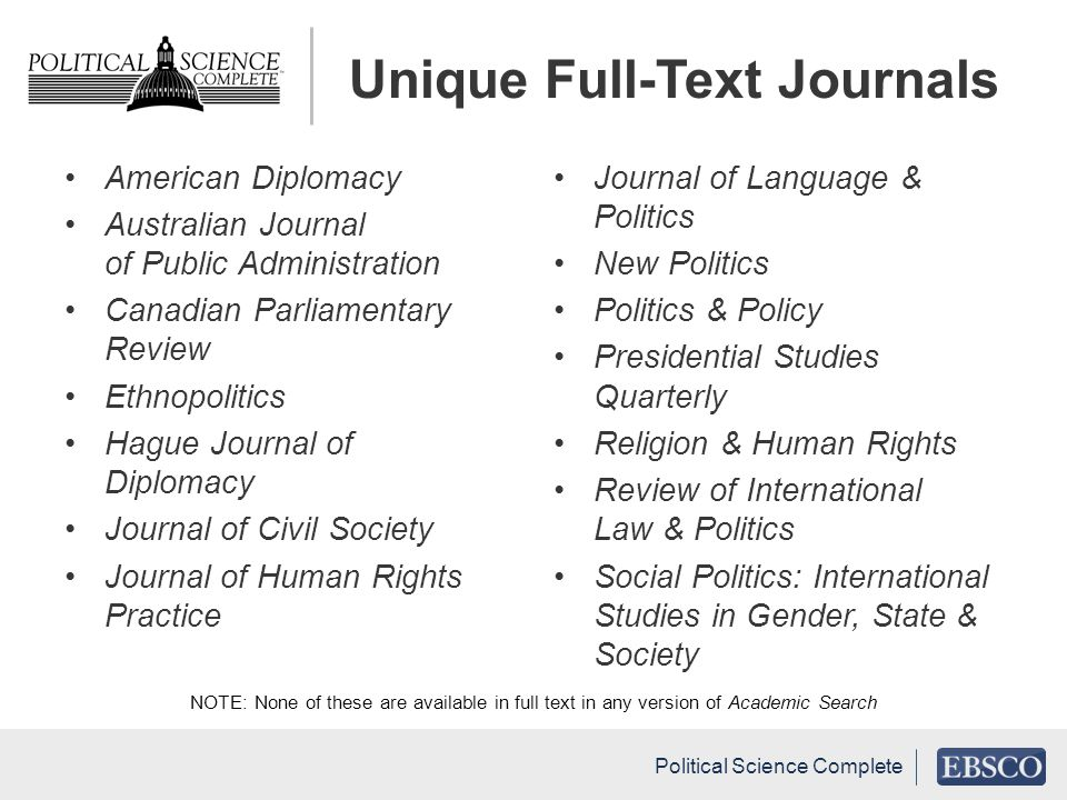 Unique Full-Text Journals