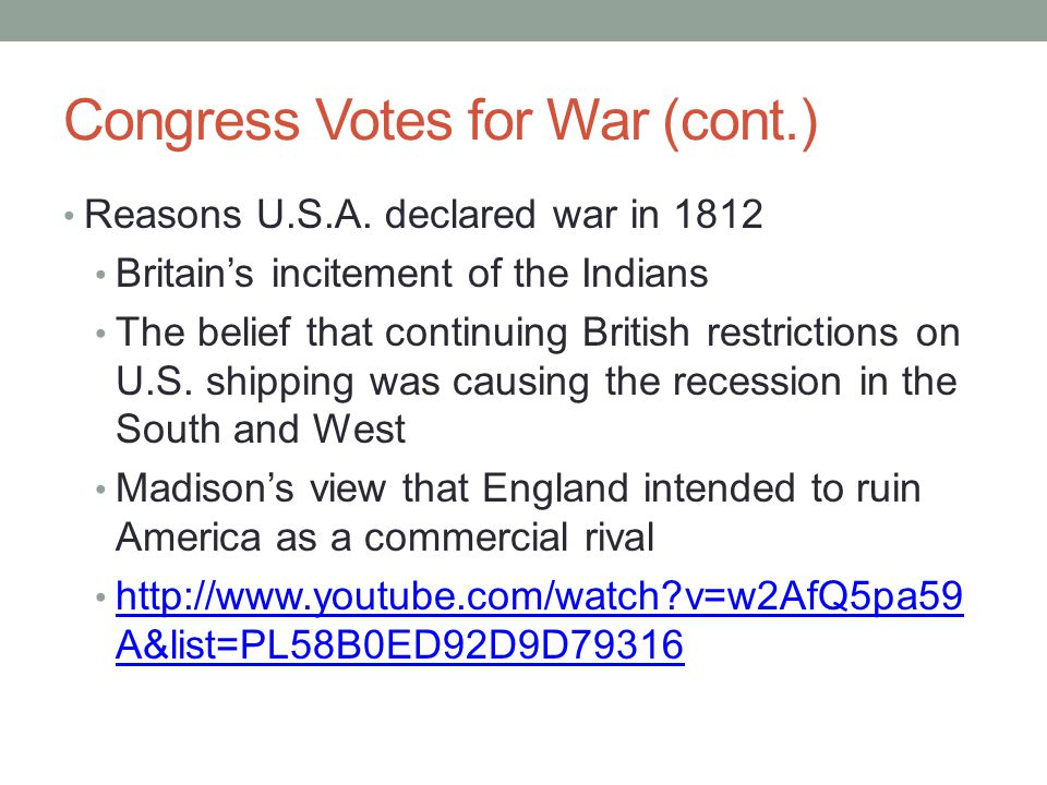 Congress Votes for War (cont.)