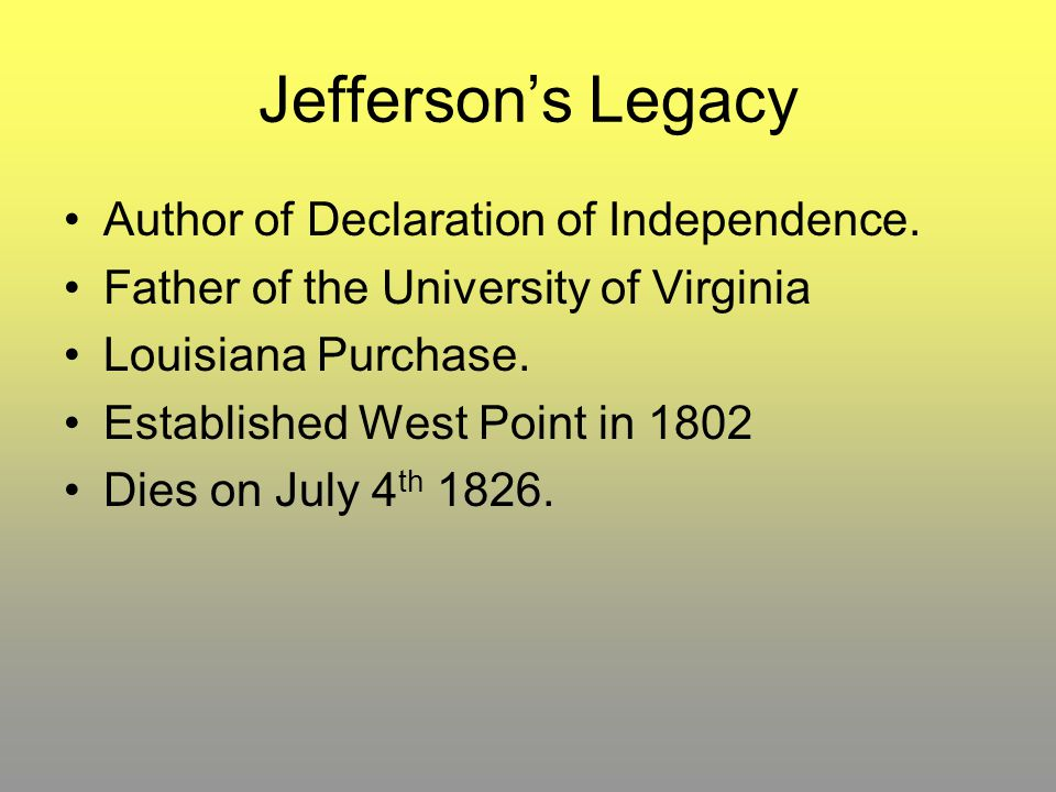 Jefferson's Legacy Author of Declaration of Independence.