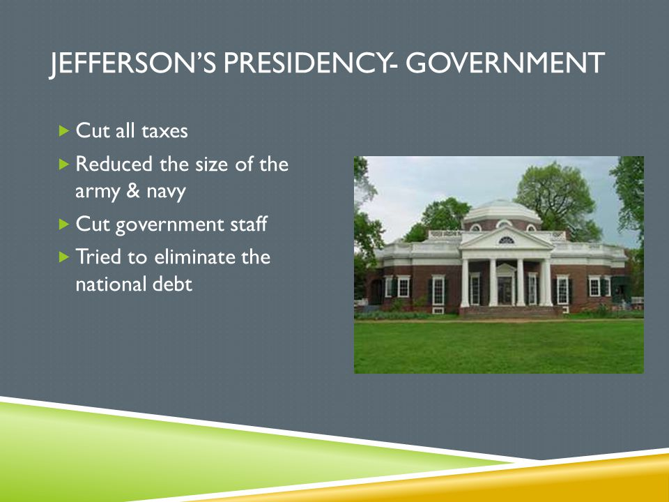 Jefferson's Presidency- Government