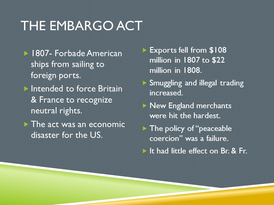 The Embargo Act Exports fell from $108 million in 1807 to $22 million in 1808. Smuggling and illegal trading increased.