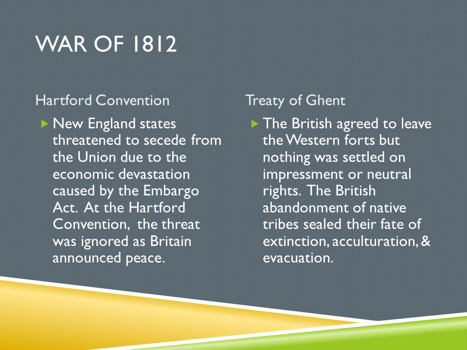 War of 1812 Hartford Convention Treaty of Ghent