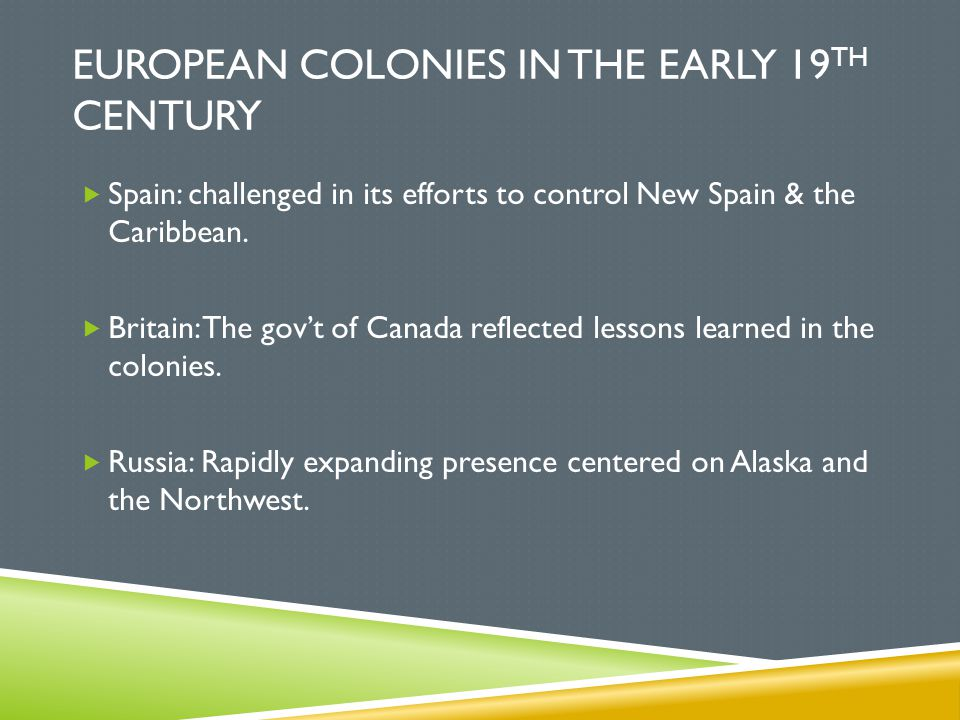 European colonies in the Early 19th Century