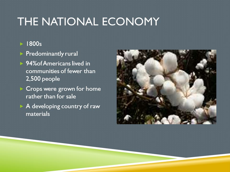 The National Economy 1800s Predominantly rural
