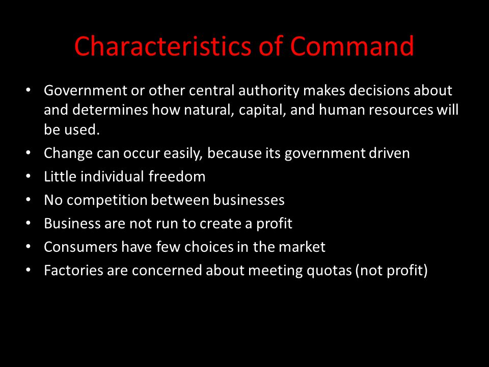 Characteristics of Command