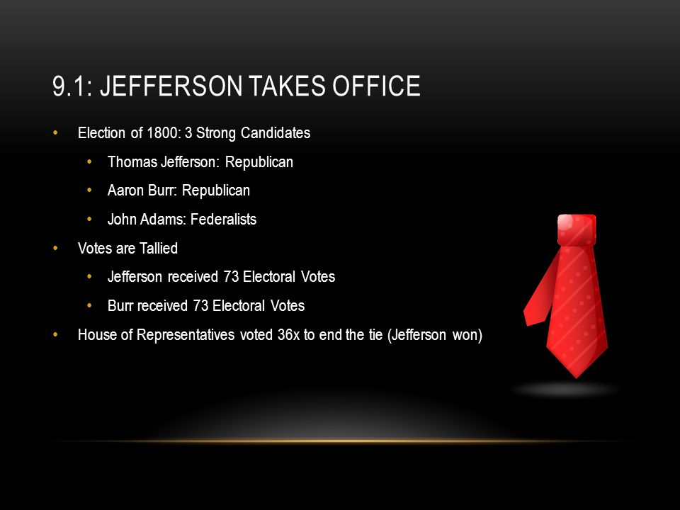 9.1: Jefferson Takes Office