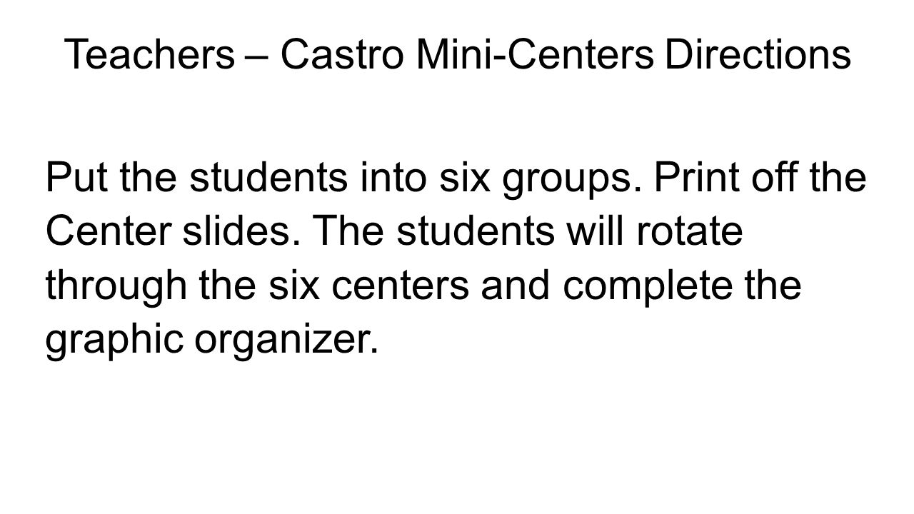 Teachers – Castro Mini-Centers Directions