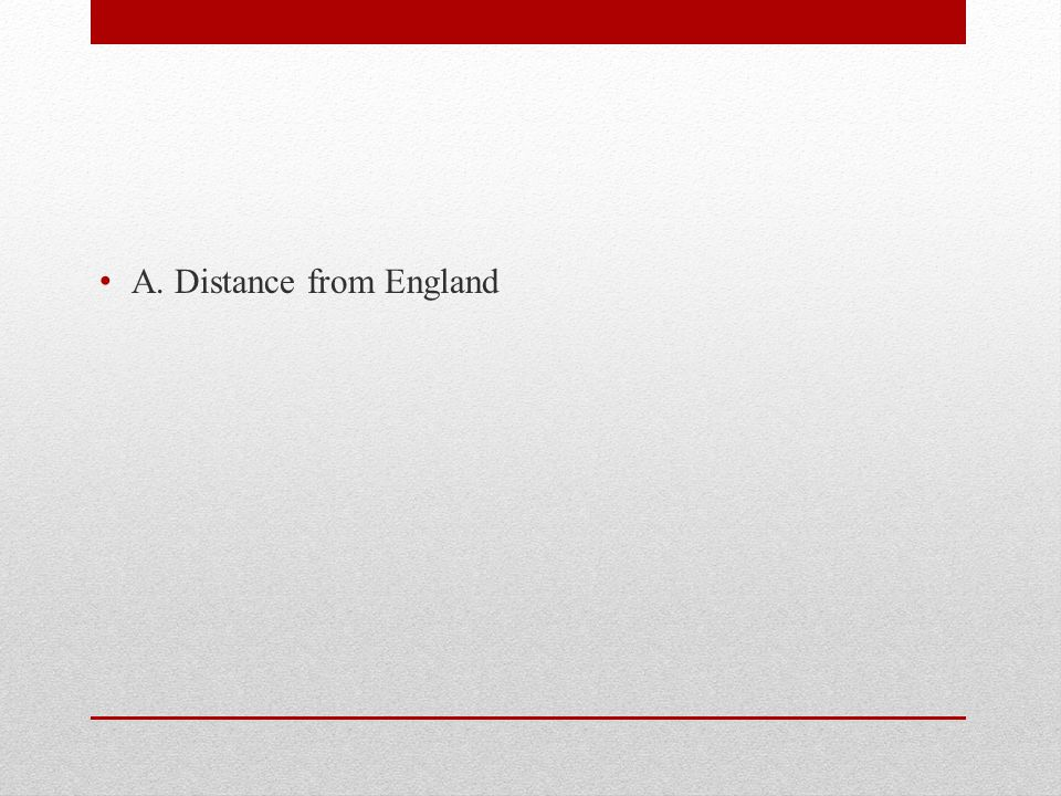 A. Distance from England