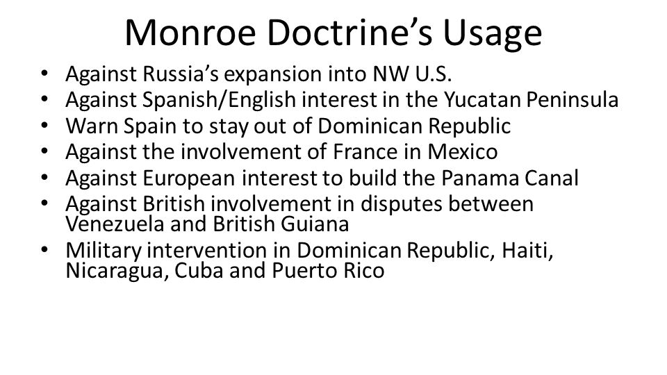 Monroe Doctrine's Usage