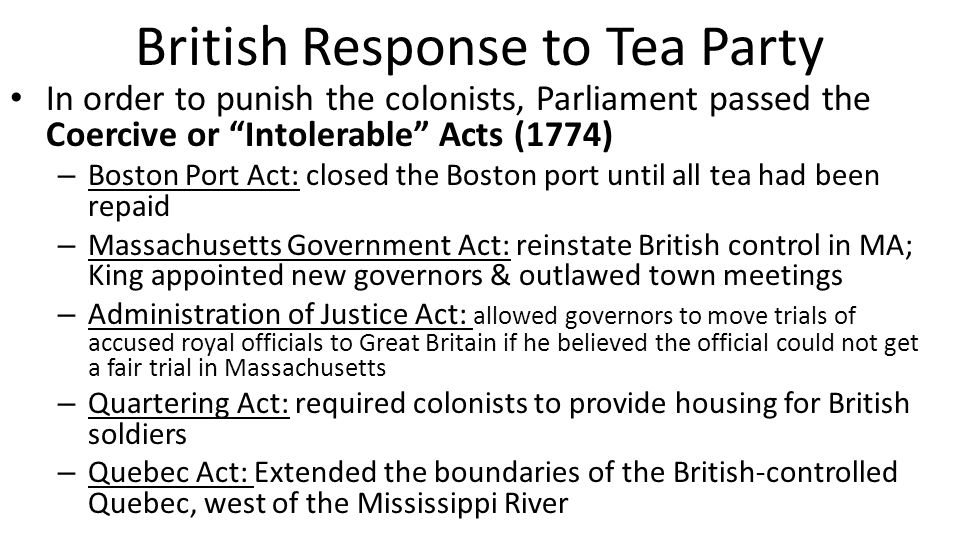 British Response to Tea Party