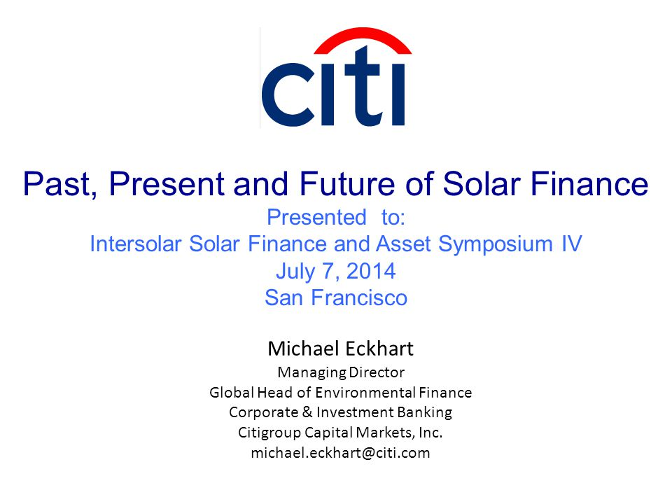 Past, Present and Future of Solar Finance