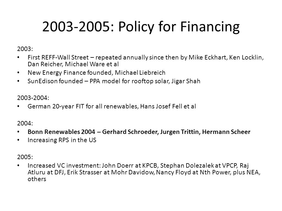 2003-2005: Policy for Financing