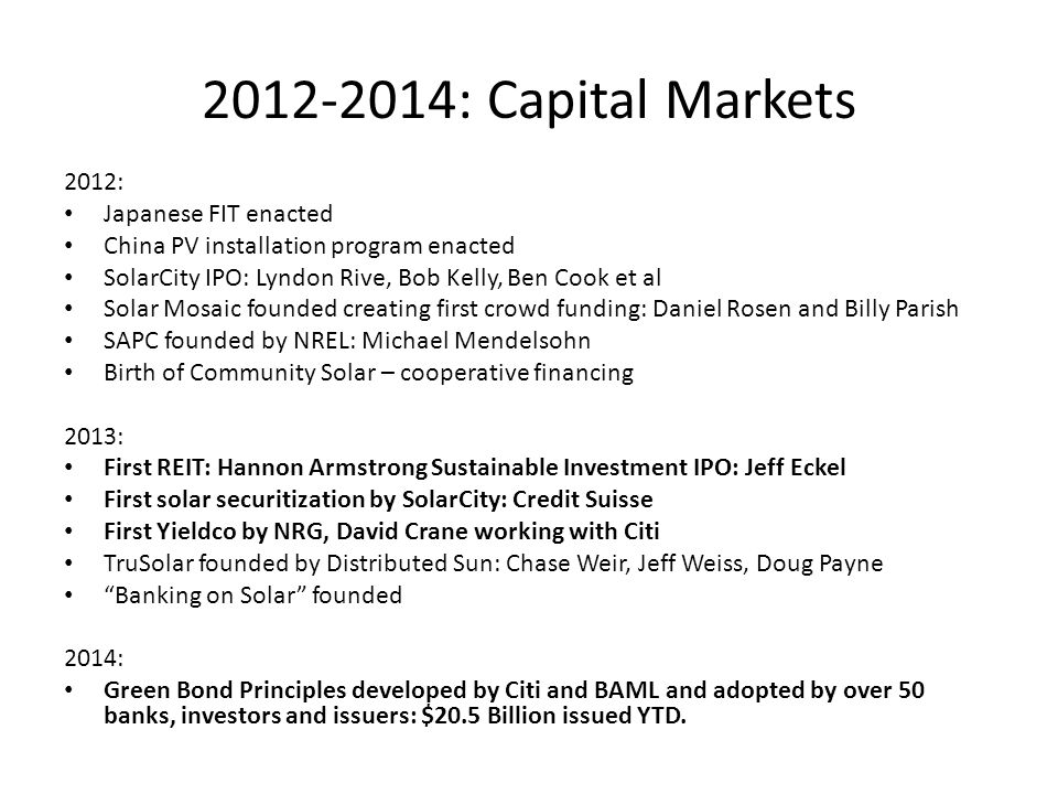 2012-2014: Capital Markets 2012: Japanese FIT enacted
