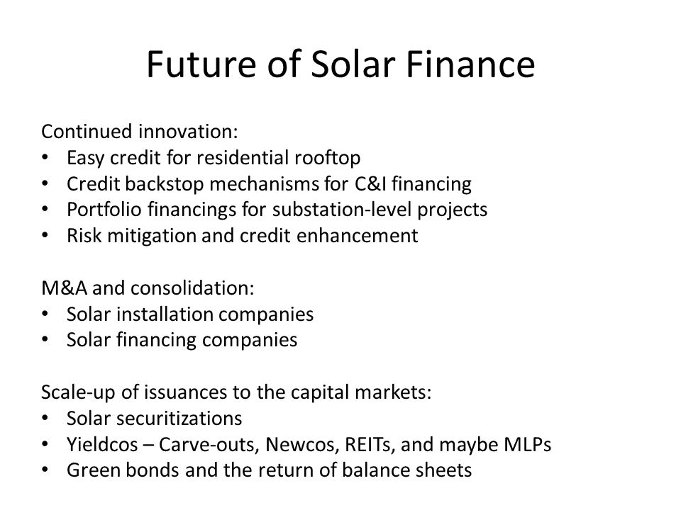 Future of Solar Finance