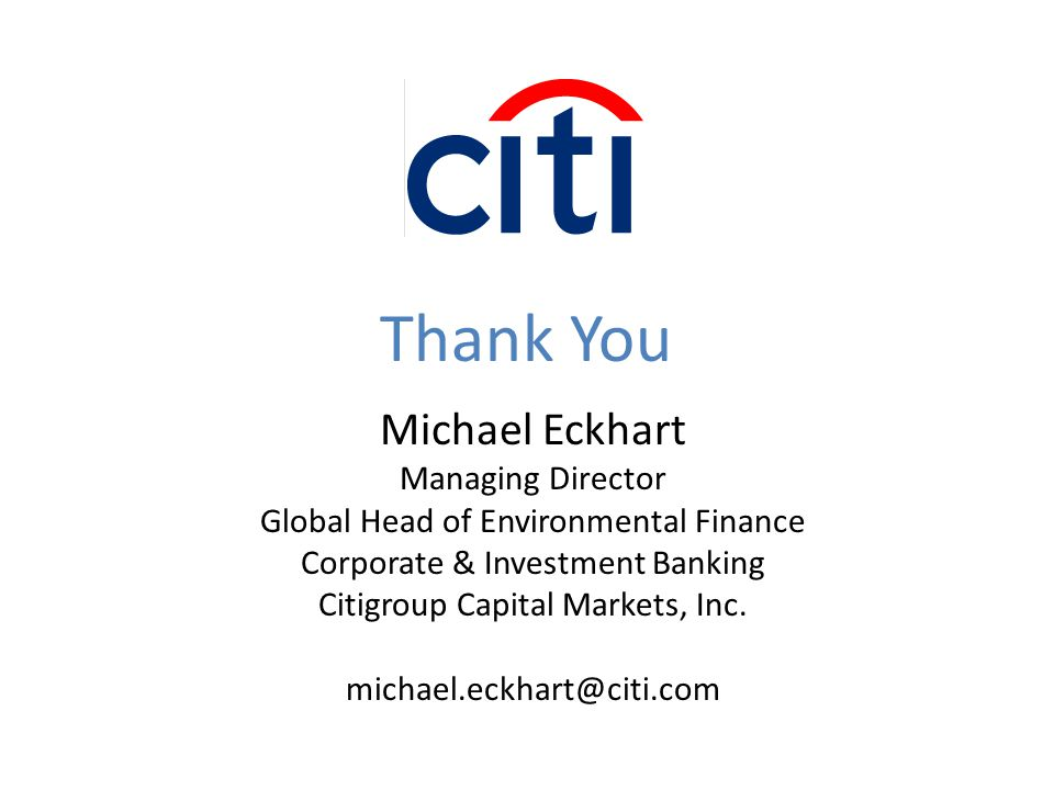 Thank You Michael Eckhart Managing Director