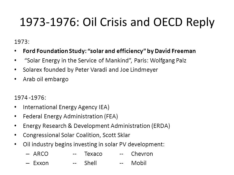 1973-1976: Oil Crisis and OECD Reply