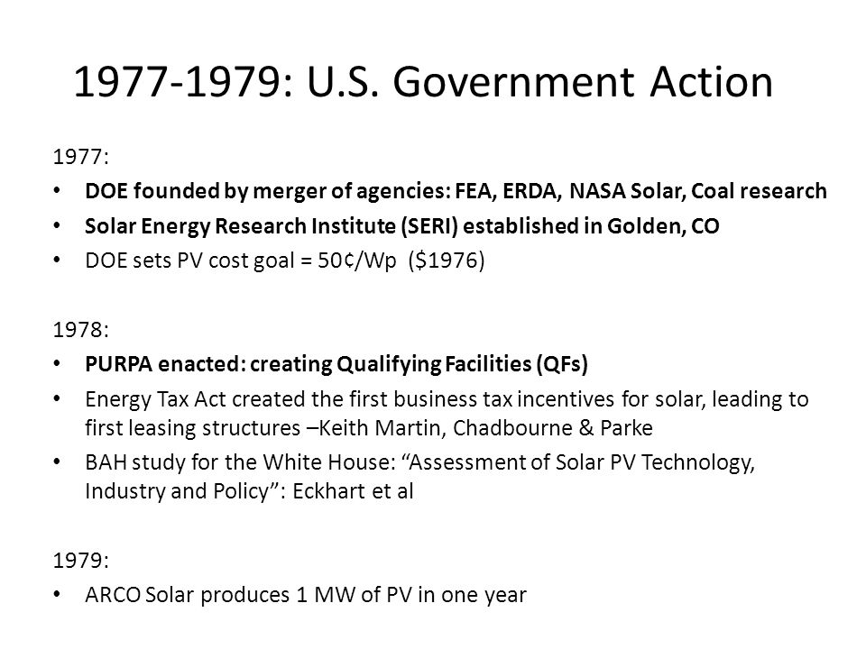 1977-1979: U.S. Government Action