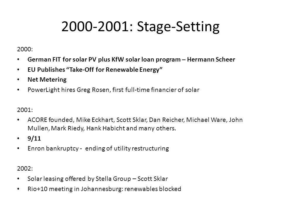 2000-2001: Stage-Setting 2000: German FIT for solar PV plus KfW solar loan program – Hermann Scheer.