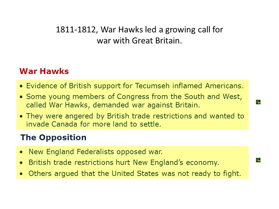 1811-1812, War Hawks led a growing call for war with Great Britain.