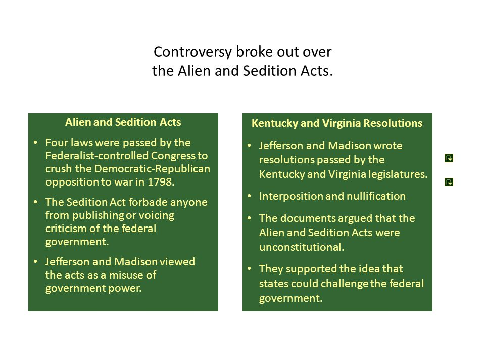 Controversy broke out over the Alien and Sedition Acts.