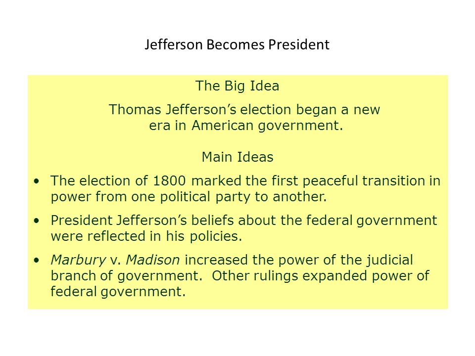 evaluating thomas jeffersons main beliefs about his new government Pitt's sudden death and the formation of a new government that brought charles  recent works include joseph j ellis, american sphinx: the character of thomas jefferson (new york, 1997.