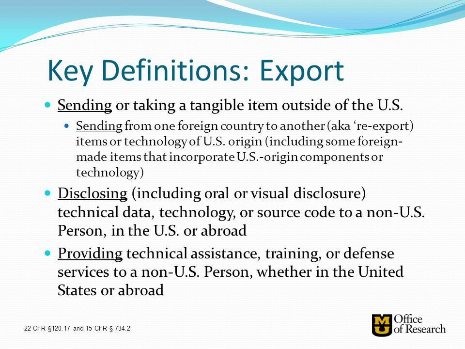 Key Definitions: Export