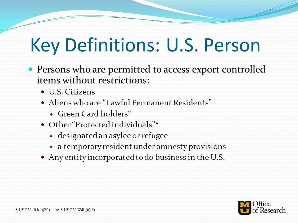 Key Definitions: U.S. Person