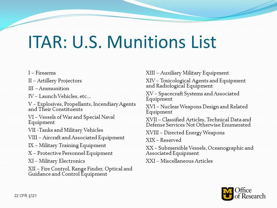 ITAR: U.S. Munitions List