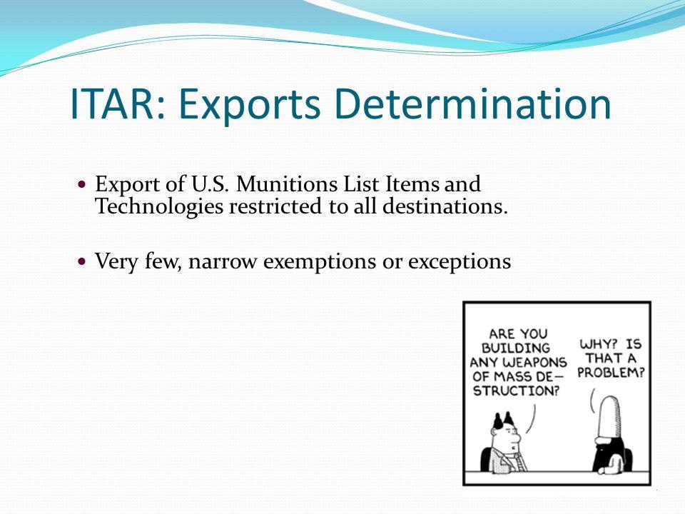 ITAR: Exports Determination