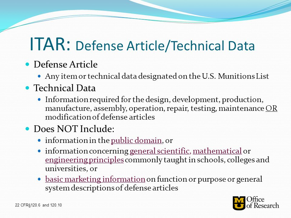 ITAR: Defense Article/Technical Data