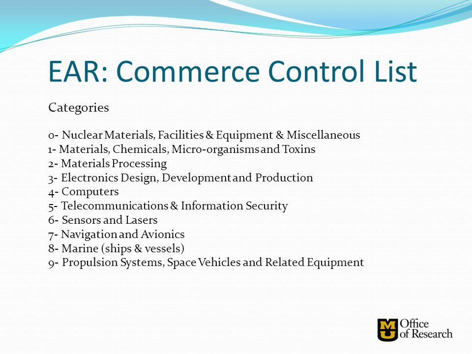 EAR: Commerce Control List