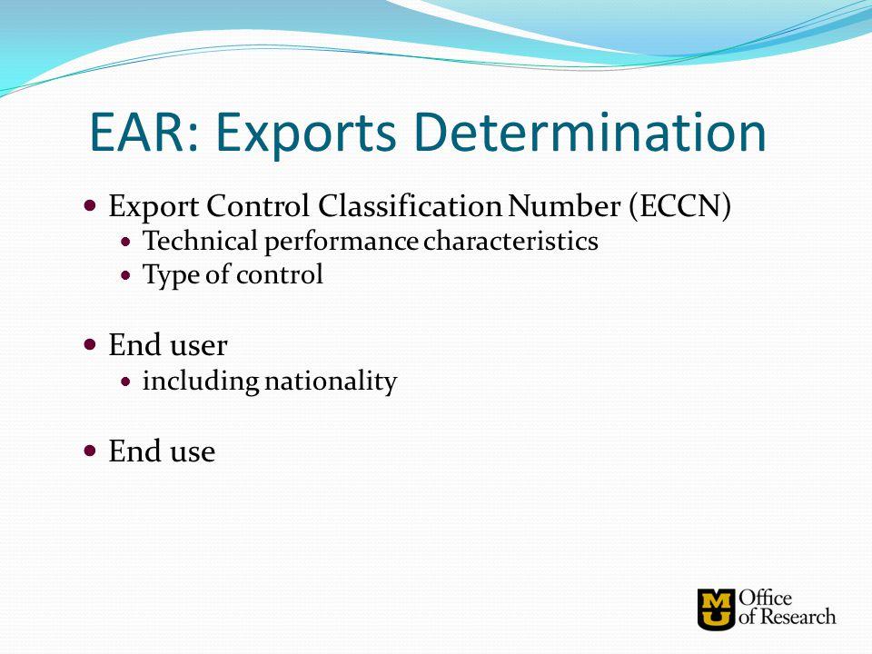 EAR: Exports Determination