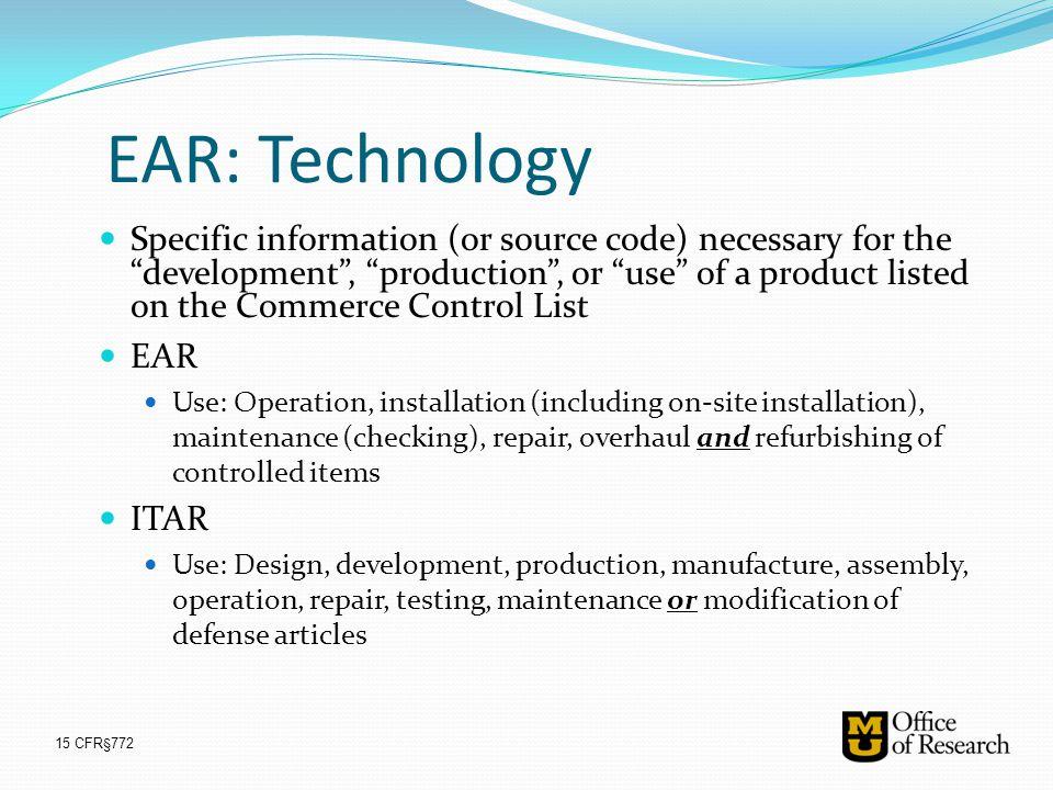 EAR: Technology