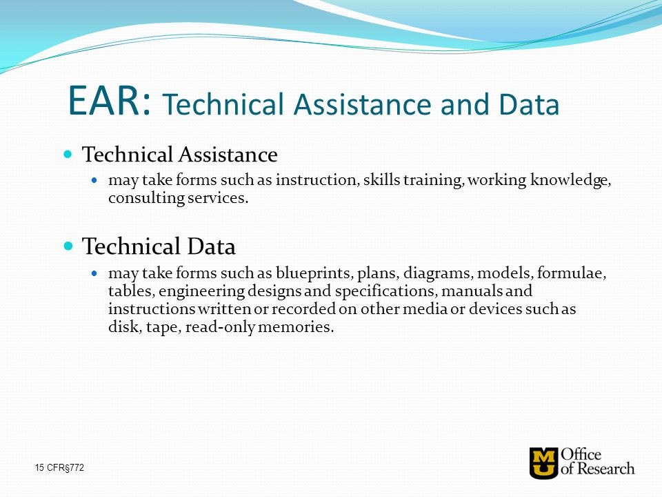 EAR: Technical Assistance and Data