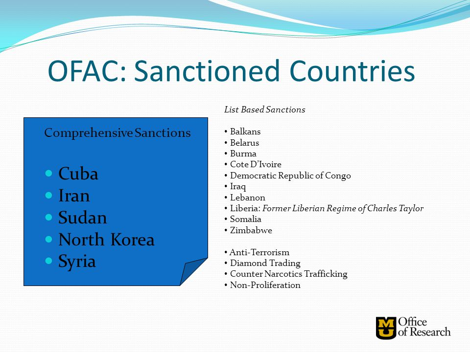 OFAC: Sanctioned Countries