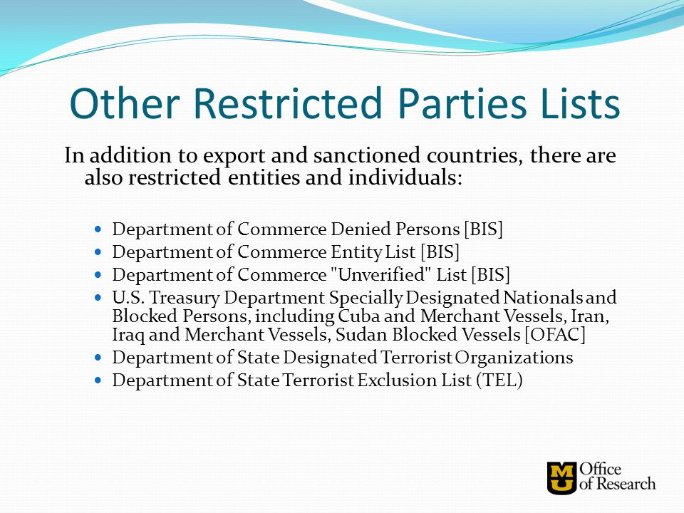 Other Restricted Parties Lists