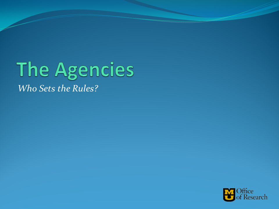 The Agencies Who Sets the Rules