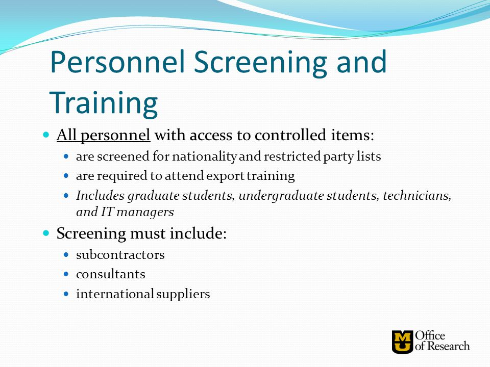 Personnel Screening and Training